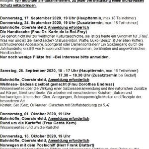 Veranstaltungen September bis Oktober