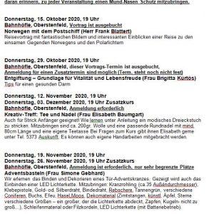 Termine ab Oktober im Überblick