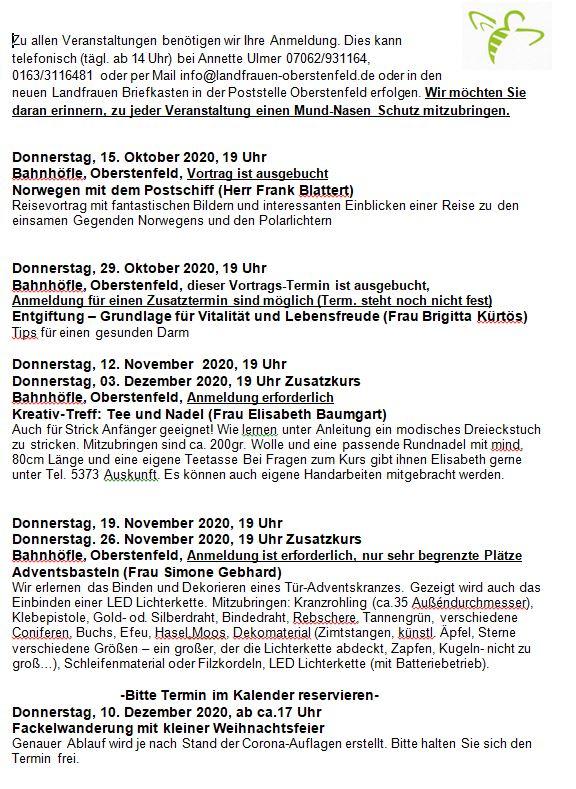 Programm ab Oktober unter Corona Homepage 12102020