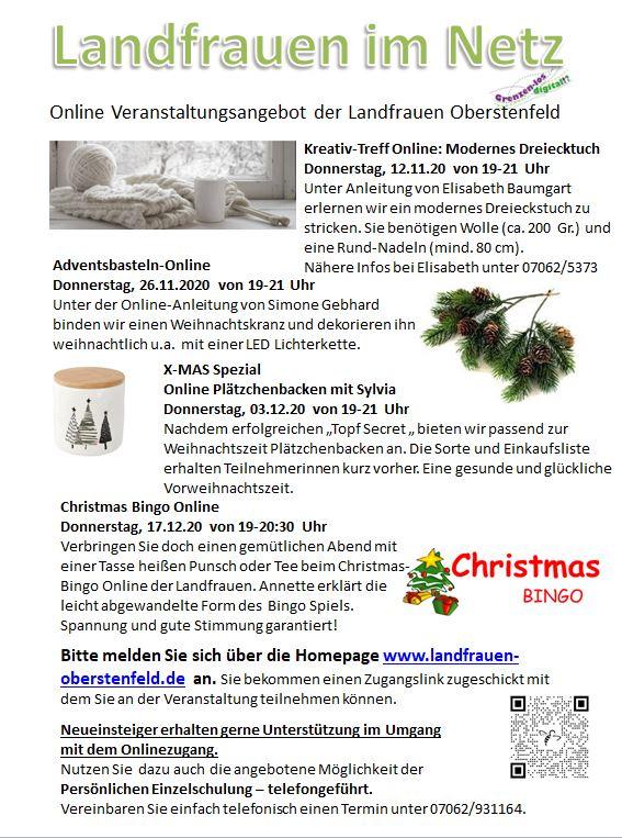 Programm November und Dezember unter Corona Homepage 112020
